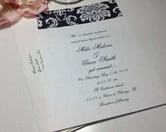 100 Wedding Invitations, invites  Black and white floral damask with elegant script