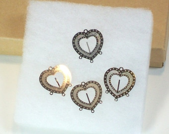 Silver Lazer Lace Etched Heart Connectors Earring Findings 25mm