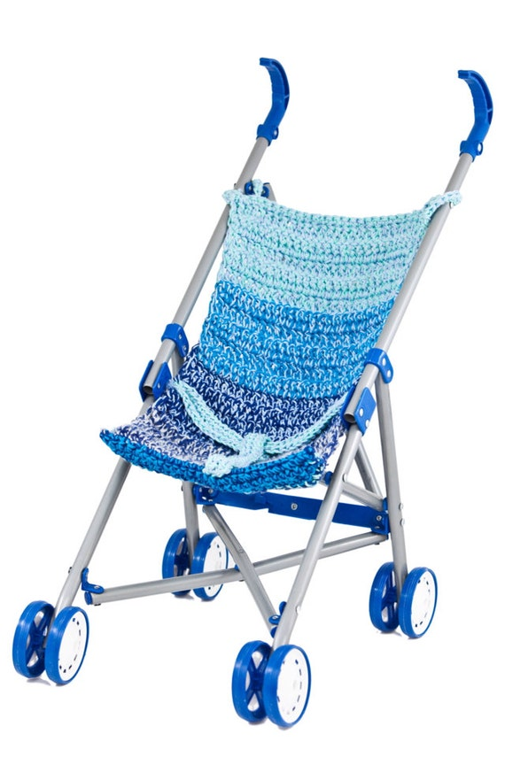 Items similar to Hand Made- blue crochet baby doll stroller on Etsy