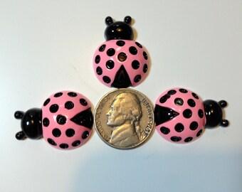 Pink Ladybug Flatback Cabachon