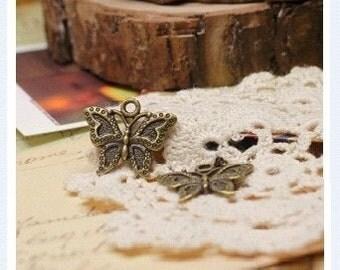 15pcs of  Antique Brass bronze butterfly 23mm