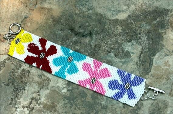 Beadwork Handmade Peyote Colorful Summer Seed Bead Bracelet.  Arm Candy