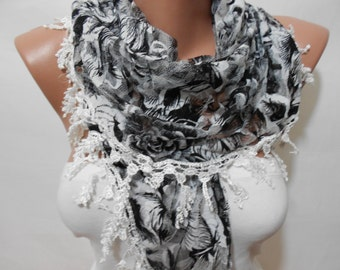 Black White Tulle Scarf Shawl,Floral Cowl Scarf with Lace Edge,Christmas Gift Scarf,Women's Fashion Accessory, ScarfClub