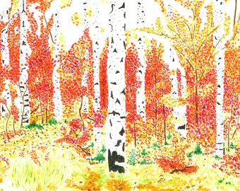 Autumn Aspen Trees - Print