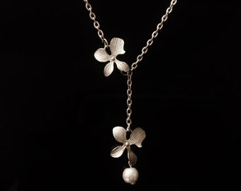 STERLING SILVER ORCHID necklace,Orchid jewelry,orchid with pearl lariat necklace,bridal jewelry,bridesmaid gift,flower girl gift