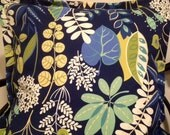 Navy Yellow Green White Blue Fun Floral Pattern Decorative Pillow Cover 26 x 26 inch with Gorgeous Home Decor Fabric  throw pillow cover