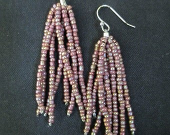 Purple Glass Seed Bead Earrings