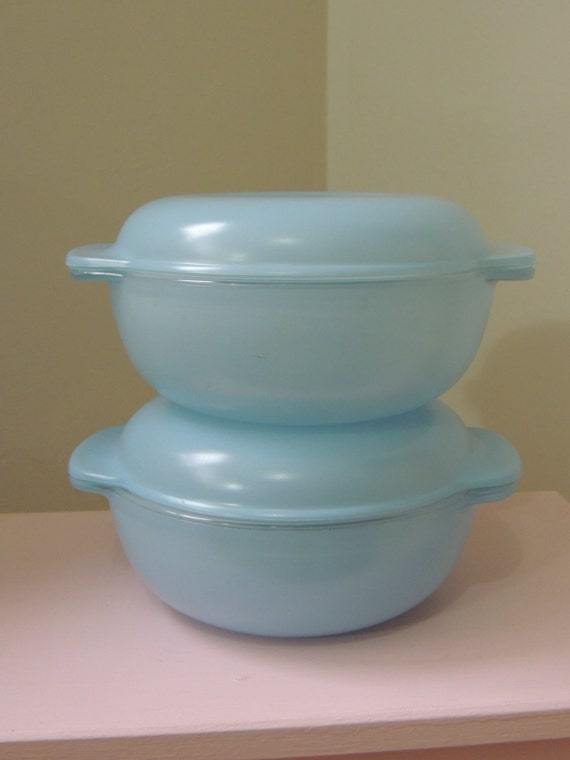 2 Rare Baby Blue Pyrex Casserole Dishes With Lids