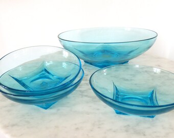 Set of 4 Aqua Glass Serving Bowls