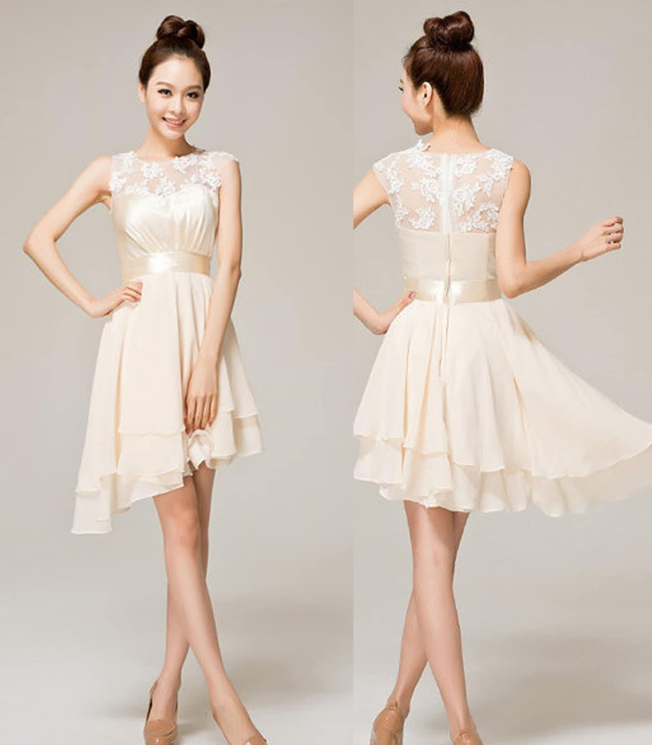 Beige prom dress for Beige short wedding dresses