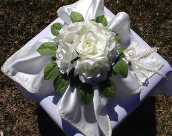 Wedding Ring  Bearer Pillow ivory roses ,green leaves,satin