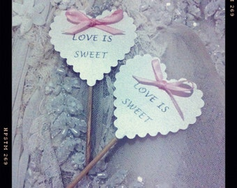 wedding cup cake toppers love is sweet hearts