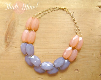 Coral and Gray necklace, peach and gray color block necklace