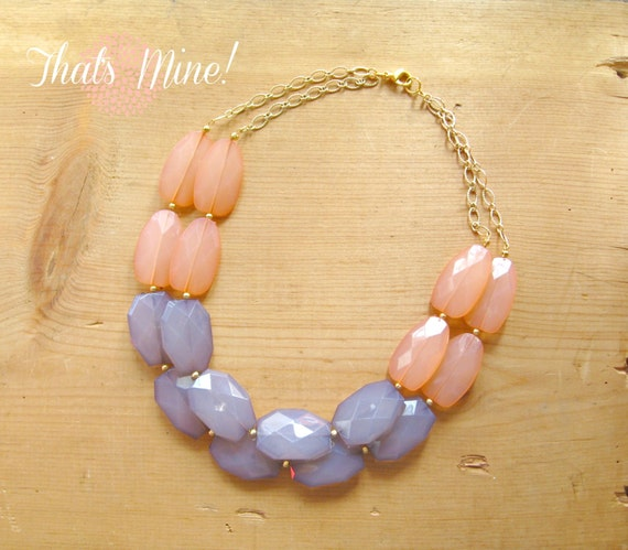 Coral And Gray Necklace Peach And Gray Color By