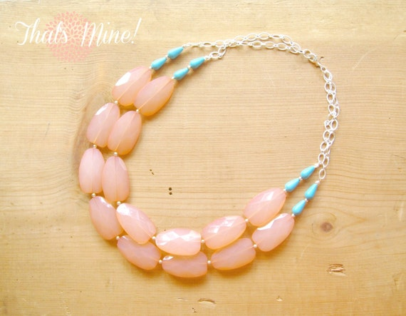 Coral and turquoise necklace, Coral and turquoise statement necklace
