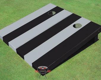 Painted Corn Hole Black and Gray Alternating Long Stripe No Stripe Cornhole Boards