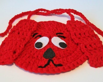 So Cute Hand Crocheted Bright Red Puppy Dog Baby Bib Great Photo Prop Matching Hat Also Available