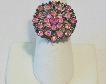 Lovely Aged Metal Bright Pink Rhinestone Fashion Ring Adjustable Band