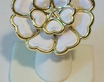 Huge Statement Piece White Flower with Gold Trim Fashion Ring Adjustable Band