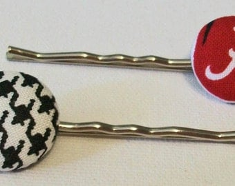 Fun Pair of Alabama Inspired Houndstooth and Crimson Button Metal Bobby Pins