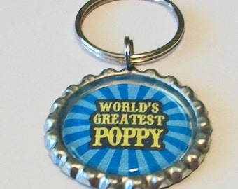 World's Greatest Poppy Grandfather Metal Flattened Bottlecap Keychain Great Gift