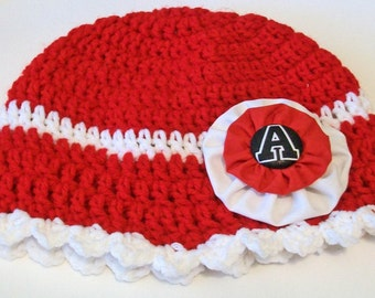 Arkansas Razorbacks Inspired Red and White Hand Crocheted Baby and Childrens Scalloped Edge Hat Great Photo Prop 5 Sizes Available