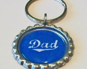 Blue Dad Father's Day Metal Flattened Bottlecap Keychain Great Gift