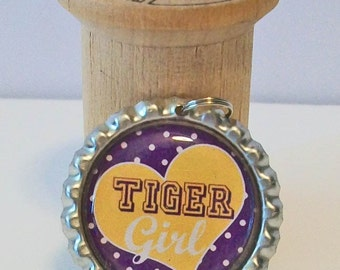 Fun Purple and Gold Heart Tiger Girl LSU Inspired Flattened Metal Bottlecap Pendant Necklace