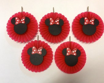 Minnie Mouse Birthday Decorations 5 Mini Tissue Fans - Baby shower