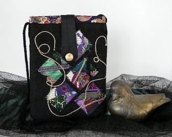 Black Shoulder Bag - Green & Purple Collage