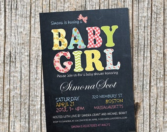 Baby Girl, Chalkboard Baby Shower Invitation, Baby Shower Announcement