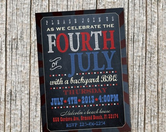 Fourth of July Inviation / BBQ Party Invitation / Announcement