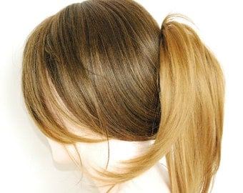 Light brown two toned to honey blonde ends / straight layered wig with bangs