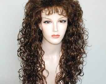 Medium auburn long curly wig
