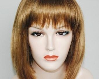 Honey blonde straight bop wig