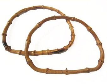 """Vintage Natural Bamboo 7"""" D Handbag Purse Handles"""