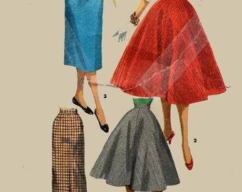 Vintage 50s Womens Skirt Pattern Full Skirt High Waist Suspender JUMPER SKIRT Pencil Skirt & Flare Skirt Pattern Simplicity 1281 / 24 Waist