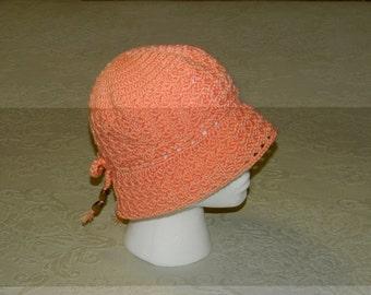 Crochet Girl Hat Peach