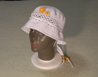 Crochet Girls Hat White