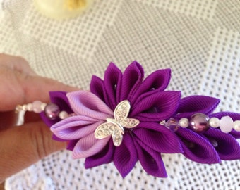 Headband ....Purple and lavander headband with butterfly pearls and beads