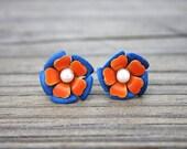 Blue and Orange Vintage Enamel Flower Earrings (OOAK True Vintage)