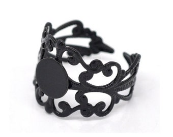 10pc  black adjustable Filigree Ring with pad 16mmx18mm