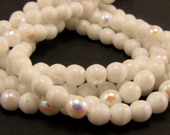 Chalk White AB 4mm  Round Czech Glass  Beads 100pc #1346