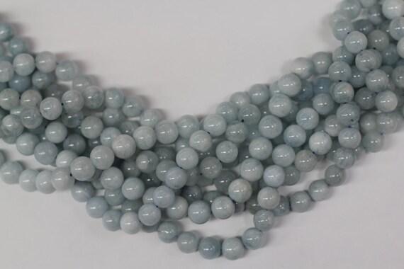 "Aquamarine 8mm smooth round beads 16"" length strand"