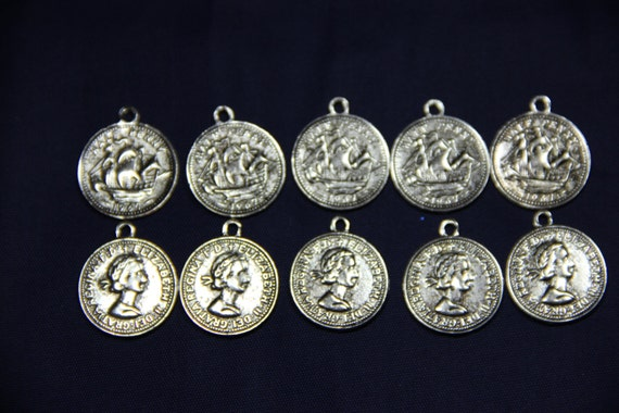 10 pcs Tibetan Style Charm,Lead Free, Coin, Antique Silver Color