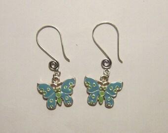 Turquoise Butterfly Swirl Ear Wire Earrings