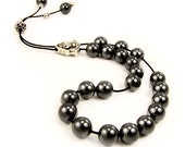 Worry Beads Greek Komboloi Hematite Beads & Vintage Style Silver Tone Shield Bead
