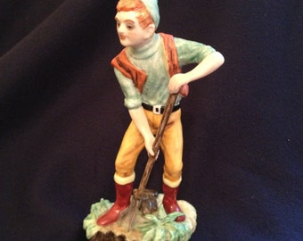 Dresden Muller German Figurine The Turfcutter Vintage Early Muller & Co. Antique