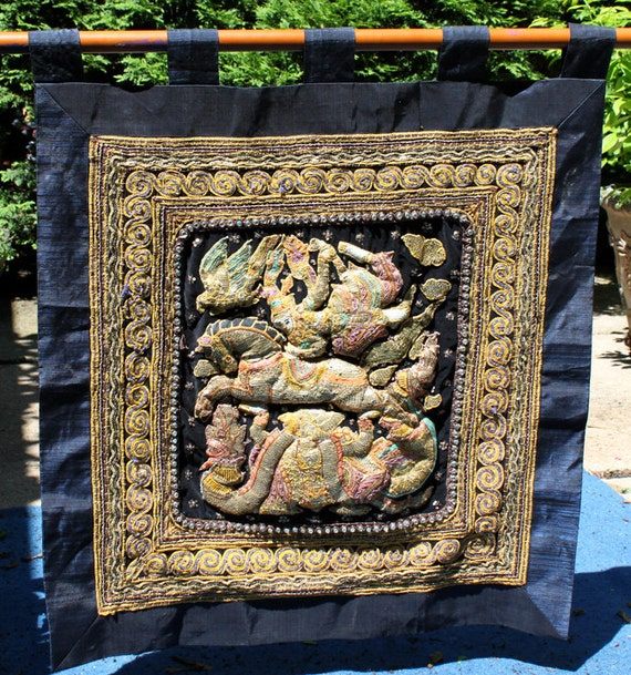 Thai tapestry wall hanging hand beaded and crochet wall for Thailand home decor