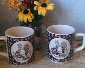 70's  Country Kitchen Ceramic Mugs-set of 2